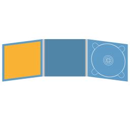 Digipack CD 6 полос 1 трей (справа)  с буклетом (вклеенным) (слева)
