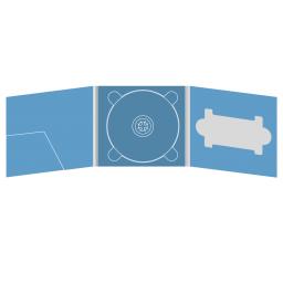 Digipack CD 6 полос 1 трей с карманом для буклета (слева) и вырезом под флешку (справа)