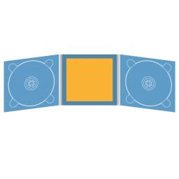 Digipack CD 6 полос 2 трея с буклетом (вклеенным) (в центре)