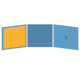 DigiFix CD 6 полос 1 спайдер с прорезью для буклета (в центре) и буклетом (вклеенным) (слева)