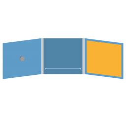 DigiFix CD 6 полос 1 спайдер с прорезью для буклета (в центре) и буклетом (вклеенным) (справа)