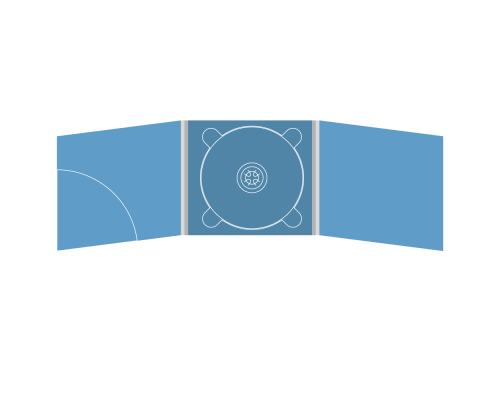 Digipack CD 6 полос 1 трей (в центре) с карманом для буклета (скругленный) (слева)