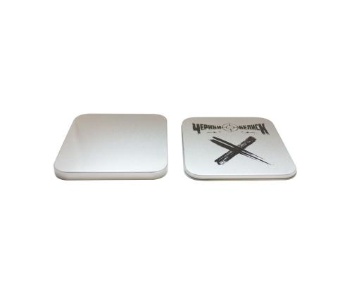 Tin Box CD квадратный серебряный, шелкография. Черный Обелиск