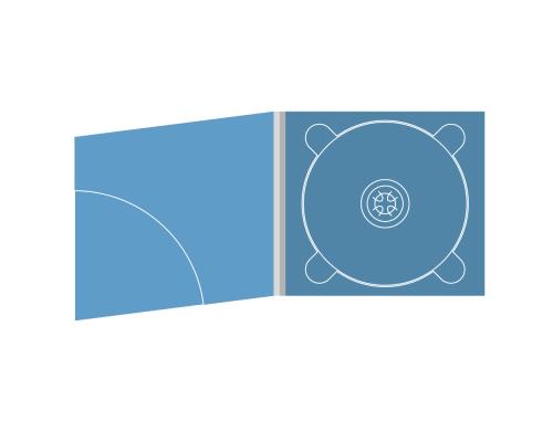 Digipack CD 4 полосы 1 трей с карманом для буклета (скругленный)