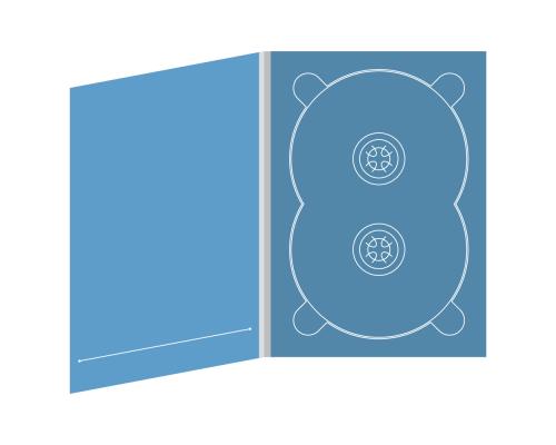 Digipack DVD 4 полосы 1 двойной трей с прорезью для буклета