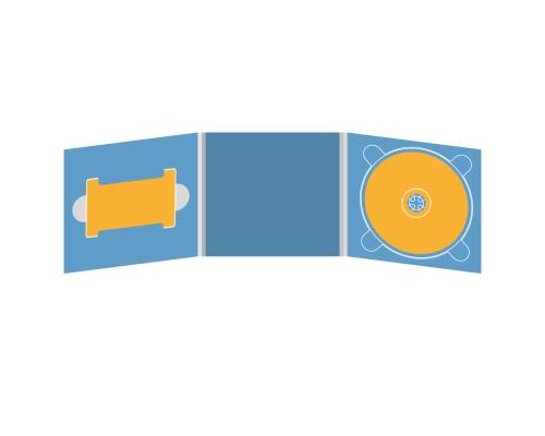 Digipack CD 6 полос 1 трей (справа) с вырезом под флешку (слева)
