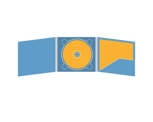 Digipack CD 6 полос 1 трей (в центре) с карманом для буклета (справа)