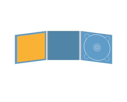 Digipack CD 6 полос 1 трей (справа)  с буклетом (вклеенным) (в центре)
