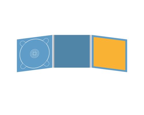 Digipack CD 6 полос 1 трей (слева) с буклетом (вклеенным) (справа)