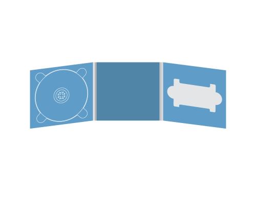 Digipack CD 6 полос 1 трей (слева) с вырезом под флешку (справа)