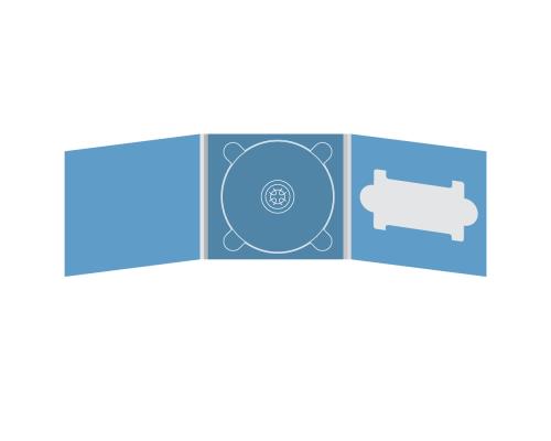Digipack CD 6 полос 1 трей (в центре) с вырезом под флешку (справа)