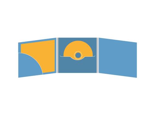 DigiFile CD 6 полос 1 прорезь (в центре) с карманом для буклета (скругленный) (слева)